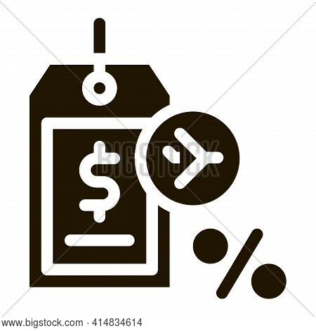 Duty Free Item Price Tag Glyph Icon Vector. Duty Free Item Price Tag Sign. Isolated Symbol Illustrat