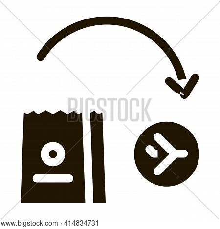 Take Food From Duty Free To Plane Glyph Icon Vector. Take Food From Duty Free To Plane Sign. Isolate