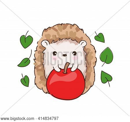 Hand Drawn Sketch Cute Baby Hedgehog And Apple. Woodland Design Print For T-shirt. Vector.