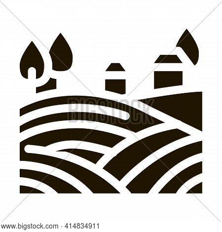 Haystack In Village Glyph Icon Vector. Haystack In Village Sign. Isolated Symbol Illustration