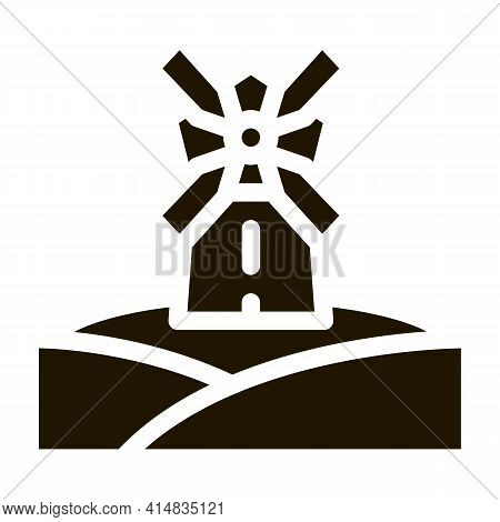 Windmill In Meadow Glyph Icon Vector. Windmill In Meadow Sign. Isolated Symbol Illustration