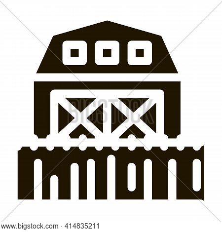 Farm Greenhouse Wheat Field Glyph Icon Vector. Farm Greenhouse Wheat Field Sign. Isolated Symbol Ill