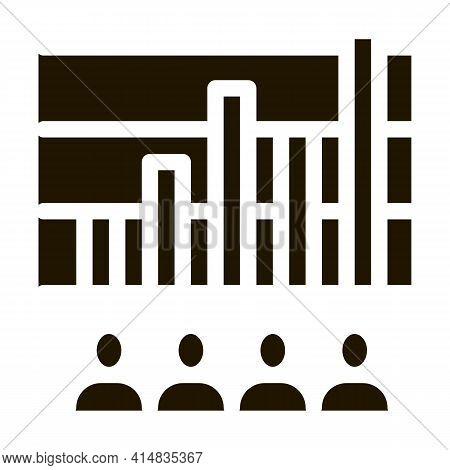 Tourist Bar Graph Glyph Icon Vector. Tourist Bar Graph Sign. Isolated Symbol Illustration