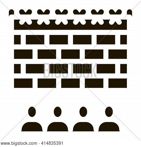 Banned People Behind Fence Glyph Icon Vector. Banned People Behind Fence Sign. Isolated Symbol Illus