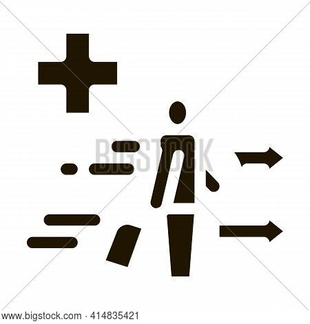 Medical Assistance To Tourist With Suitcase Glyph Icon Vector. Medical Assistance To Tourist With Su