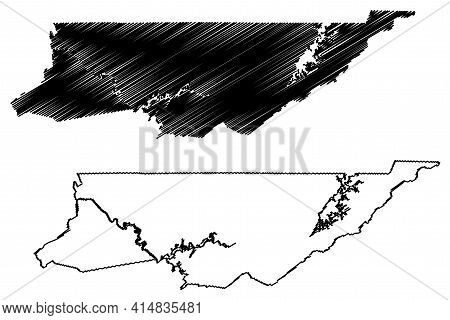 Sullivan County, State Of Tennessee (u.s. County, United States Of America, Usa, U.s., Us) Map Vecto