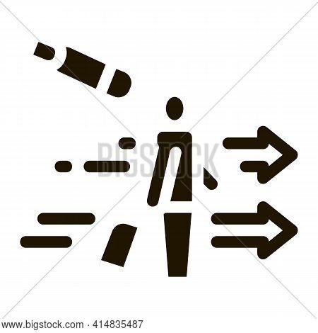 Migratory Man Tourist Glyph Icon Vector. Migratory Man Tourist Sign. Isolated Symbol Illustration