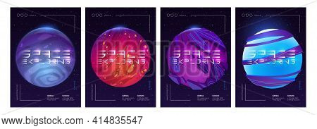 Space Exploring Posters. Vector Set Of Futuristic Flyers With Cartoon Illustration Of Fantasy Alien