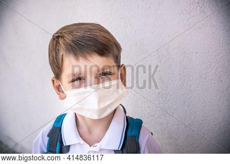 Coronavirus Covid-19.stay Home.little Boy Wearing Fabric Mask Show Stop Hands For Stop Coronavirus.