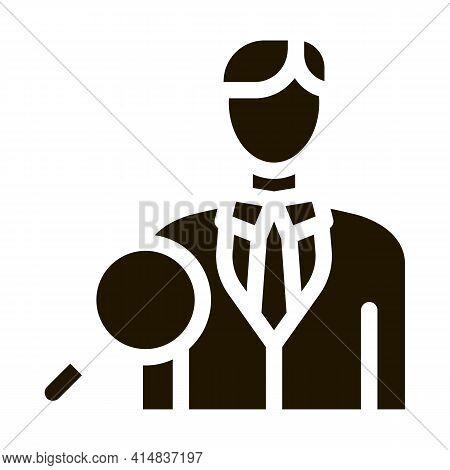 Job Applicant Study Glyph Icon Vector. Job Applicant Study Sign. Isolated Symbol Illustration
