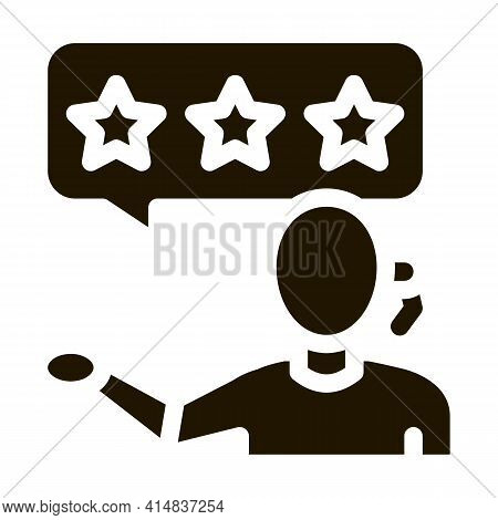 Three Stars Master Woman Glyph Icon Vector. Three Stars Master Woman Sign. Isolated Symbol Illustrat