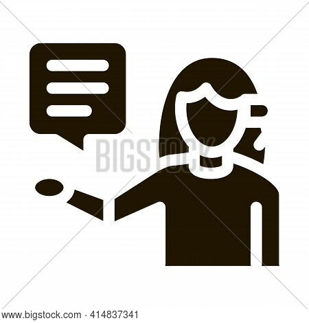 Woman Verbal Help By Phone Glyph Icon Vector. Woman Verbal Help By Phone Sign. Isolated Symbol Illus