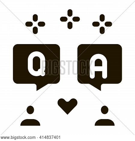 People Love Dialogue Glyph Icon Vector. People Love Dialogue Sign. Isolated Symbol Illustration