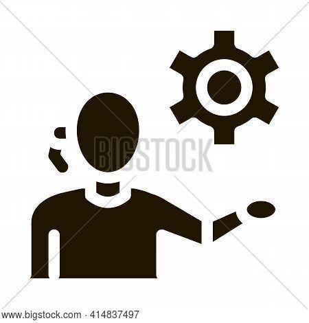 Help Desk Phone Settings Glyph Icon Vector. Help Desk Phone Settings Sign. Isolated Symbol Illustrat