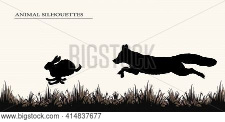 Silhouettes Of Animals Isolated On A Light Background, A Fox Hunts A Hare.