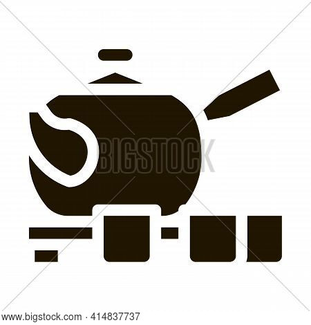 Teapot With Cups Glyph Icon Vector. Teapot With Cups Sign. Isolated Symbol Illustration