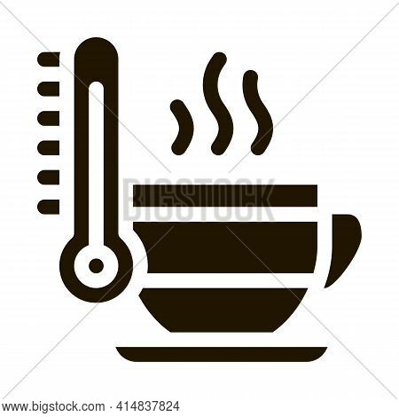 Tea Cup Temperature Glyph Icon Vector. Tea Cup Temperature Sign. Isolated Symbol Illustration
