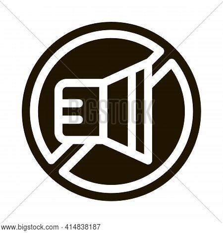 Speaker Ban Glyph Icon Vector. Speaker Ban Sign. Isolated Symbol Illustration