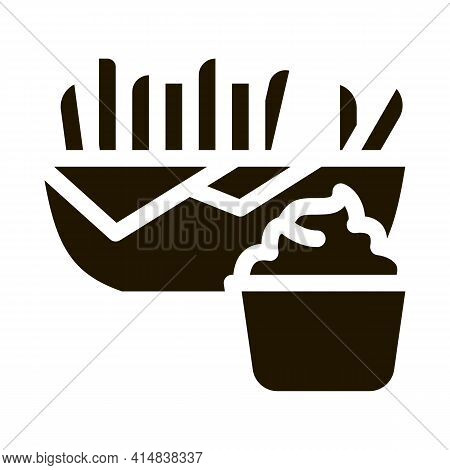 French Fries With Mayonnaise Sauce Glyph Icon Vector. French Fries With Mayonnaise Sauce Sign. Isola