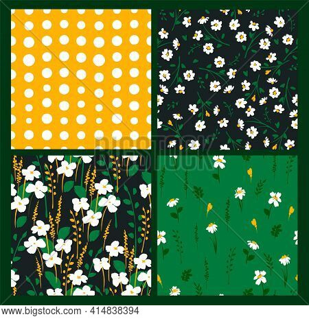 Abstract Floral Seamless Patterns With Chamomile. Trendy Hand Drawn Textures. Modern Abstract