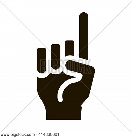 Finger Pointing Up Glyph Icon Vector. Finger Pointing Up Sign. Isolated Symbol Illustration
