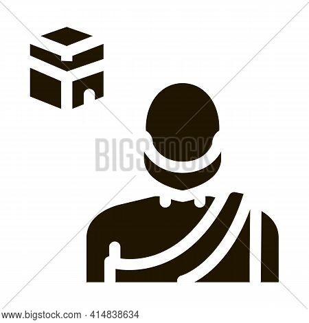 Muslim Pilgrim Glyph Icon Vector. Muslim Pilgrim Sign. Isolated Symbol Illustration
