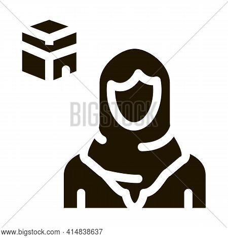 Muslim Woman Pilgrim Glyph Icon Vector. Muslim Woman Pilgrim Sign. Isolated Symbol Illustration