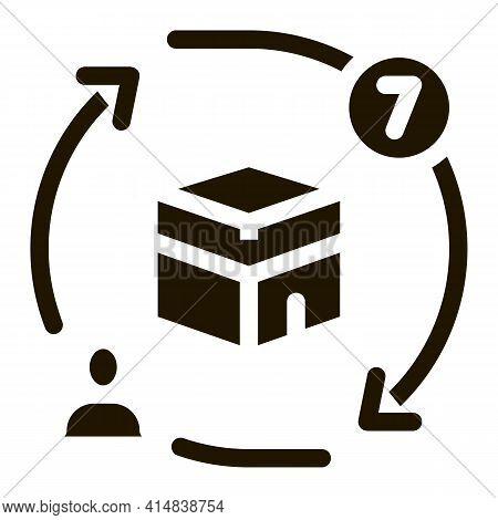 Sevenfold Tour Around Kaaba Glyph Icon Vector. Sevenfold Tour Around Kaaba Sign. Isolated Symbol Ill