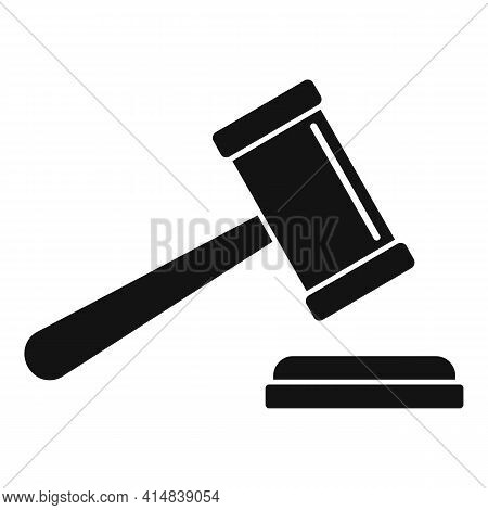 Judge Gavel Icon. Simple Illustration Of Judge Gavel Vector Icon For Web Design Isolated On White Ba