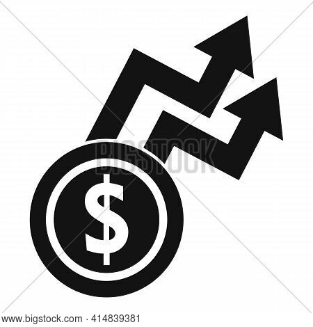 Rise Money Coin Icon. Simple Illustration Of Rise Money Coin Vector Icon For Web Design Isolated On