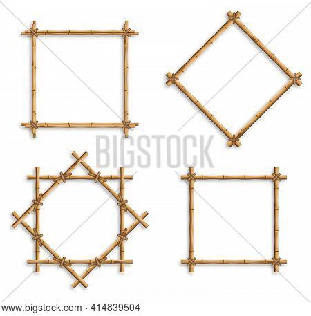 Bamboo Frames. Wood Stick Banners Of Various Shapes. Japanese Style Realistic 3d Empty Frames For Ba