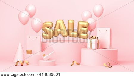 Sale Poster With Word, Balloons, Gifts And Some Shopping Related Elements. 3d Rendering