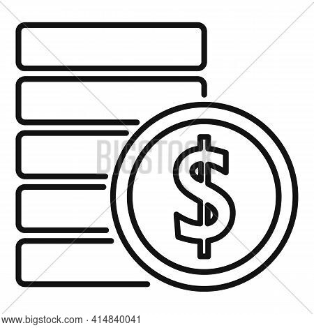 Broker Coins Stack Icon. Outline Broker Coins Stack Vector Icon For Web Design Isolated On White Bac
