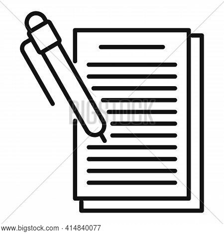 Broker Money Contract Icon. Outline Broker Money Contract Vector Icon For Web Design Isolated On Whi