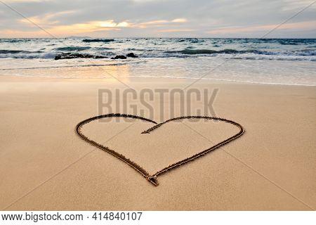 Heart Drawn On The Tropical Beach. Summer, Travel, Love Concept