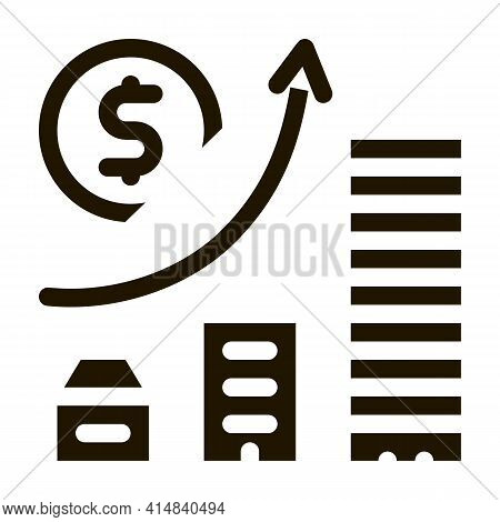 Monetary Construction Gradual Residential Buildings Glyph Icon Vector. Monetary Construction Gradual