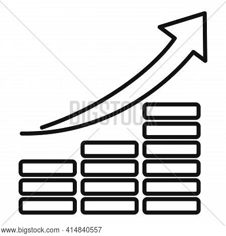 Up Broker Chart Icon. Outline Up Broker Chart Vector Icon For Web Design Isolated On White Backgroun