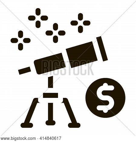 Look At Telescope Money Glyph Icon Vector. Look At Telescope Money Sign. Isolated Symbol Illustratio
