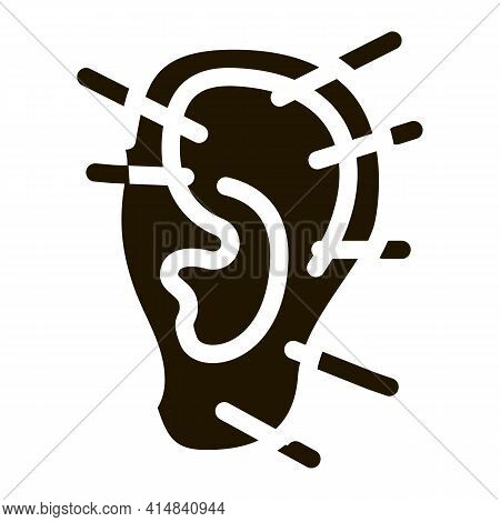 Ear Acupuncture Glyph Icon Vector. Ear Acupuncture Sign. Isolated Symbol Illustration