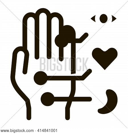 Different Points Of Impact Of Organs On Arm Glyph Icon Vector. Different Points Of Impact Of Organs