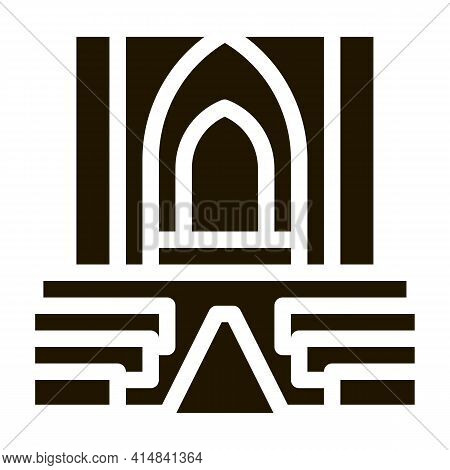 View Inside Catholic Church Glyph Icon Vector. View Inside Catholic Church Sign. Isolated Symbol Ill