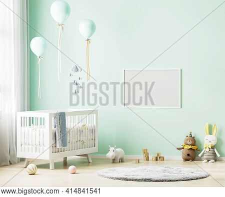 Blank Horizontal Frame Mock Up On Green Wall In Nursery Room Interior Background With Baby Bedding,