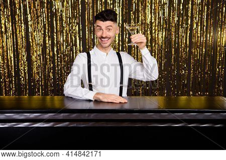 Photo Of Young Cheerful Man Happy Positive Smile Drink Cocktails Party Cheers Toast Isolated Over Gl