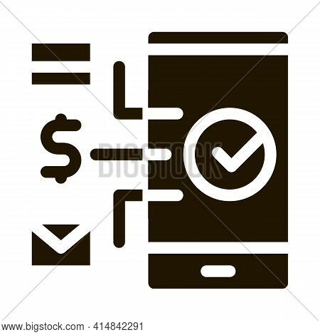 Payment By Telephone Glyph Icon Vector. Payment By Telephone Sign. Isolated Symbol Illustration