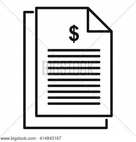 Trader Money Paper Icon. Outline Trader Money Paper Vector Icon For Web Design Isolated On White Bac
