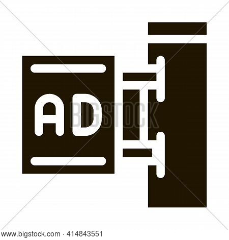 Wall-mounted Advertising Sign Glyph Icon Vector. Wall-mounted Advertising Sign Sign. Isolated Symbol