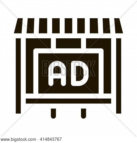 Advertising In Counter Store Glyph Icon Vector. Advertising In Counter Store Sign. Isolated Symbol I