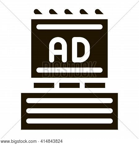 Billboard On Top Of High-rise Building Glyph Icon Vector. Billboard On Top Of High-rise Building Sig