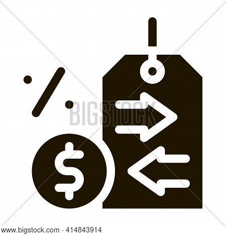 Cash Interest Price Tag Glyph Icon Vector. Cash Interest Price Tag Sign. Isolated Symbol Illustratio