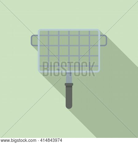 Bbq Handle Net Icon. Flat Illustration Of Bbq Handle Net Vector Icon For Web Design